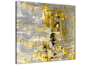 Modern Yellow Abstract Painting Wall Art Print Canvas Modern 49cm Square 1S357S For Your Dining Room