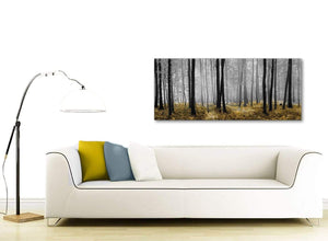 Modern Yellow and Grey Forest Woodland Trees Living Room Canvas Pictures Accessories - 1384 - 120cm Print