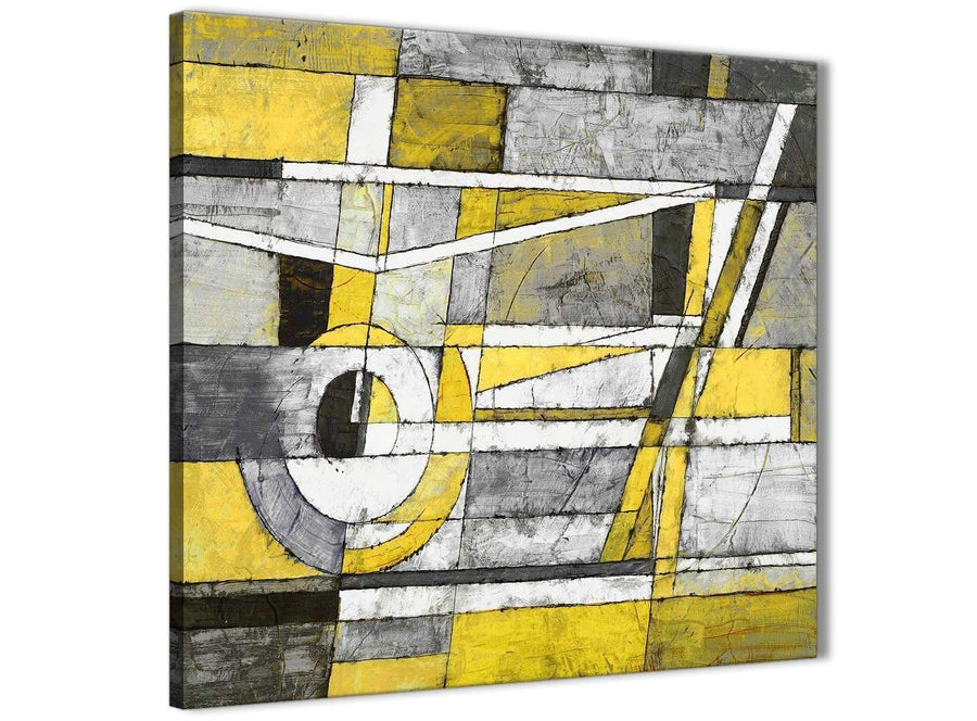 Modern Yellow Grey Painting Abstract Bedroom Canvas Pictures Accessories 1s400l - 79cm Square Print