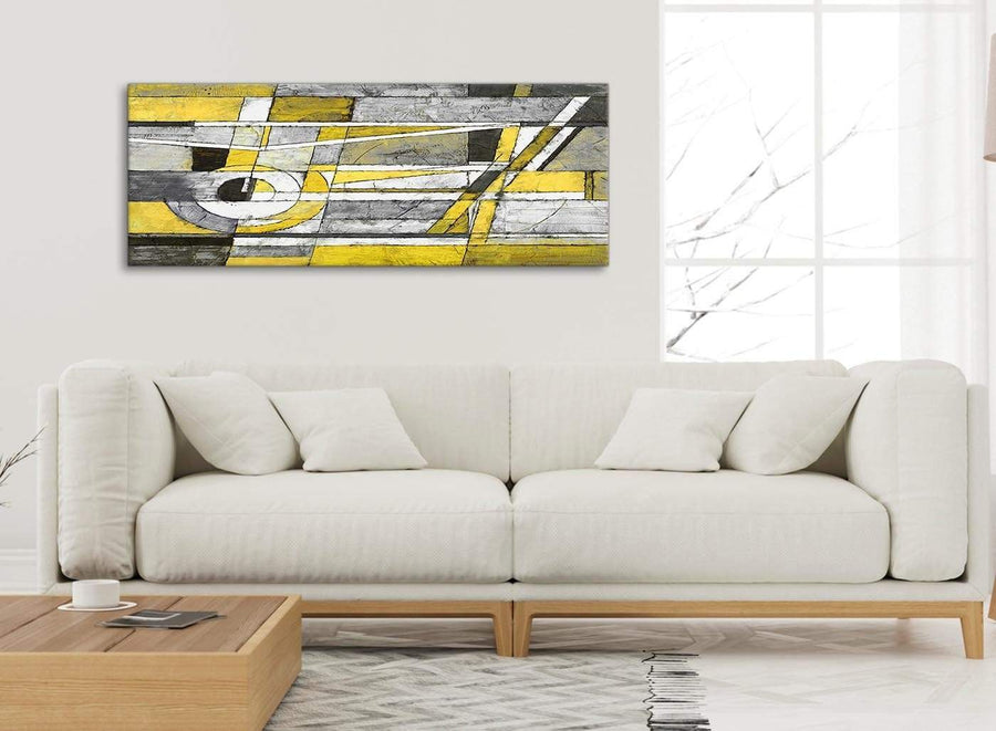 Modern Yellow Grey Painting Living Room Canvas Pictures Accessories - Abstract 1400 - 120cm Print