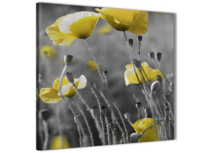Modern Yellow Grey Poppy Flower - Poppies Floral Canvas Abstract Hallway Canvas Pictures Decorations 1s258l - 79cm Square Print