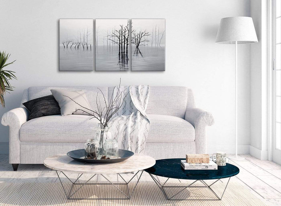 Multiple 3 Piece Black White Grey Tree Landscape Painting Bedroom Canvas Pictures Decor - 3416 - 126cm Set of Prints