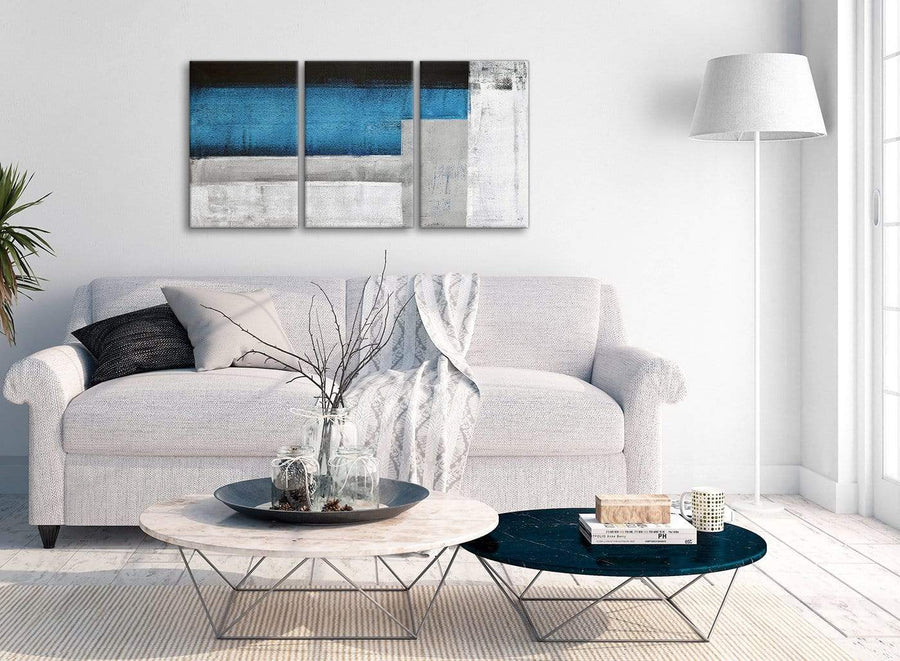 Multiple 3 Piece Blue Grey Painting Dining Room Canvas Pictures Decor - Abstract 3423 - 126cm Set of Prints