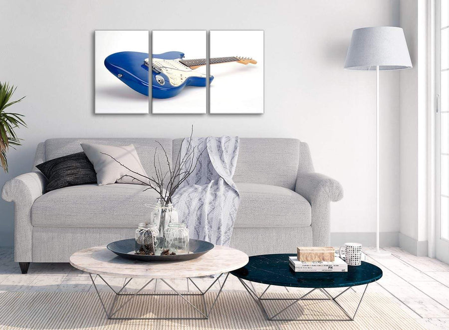 Multiple 3 Piece Blue White Fender Electric Guitar - Dining Room Canvas Wall Art Decor - 3447 - 126cm Set of Prints