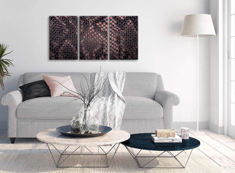 Multiple 3 Piece Blush Pink Snakeskin Animal Print Kitchen Canvas Pictures Decor - Abstract 3473 - 126cm Set of Prints