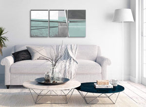 Multiple 3 Panel Duck Egg Blue Grey Painting Living Room Canvas Pictures Decor - Abstract 3396 - 126cm Set of Prints