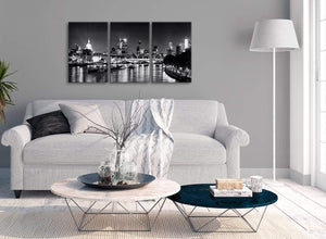 Multiple 3 Piece Landscape Canvas Wall Art River Thames Skyline of London - 3430 Black White Grey 126cm Set of Prints