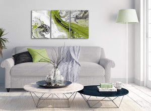 Multiple 3 Piece Lime Green and Grey Swirl Kitchen Canvas Wall Art Accessories - Abstract 3464 - 126cm Set of Prints