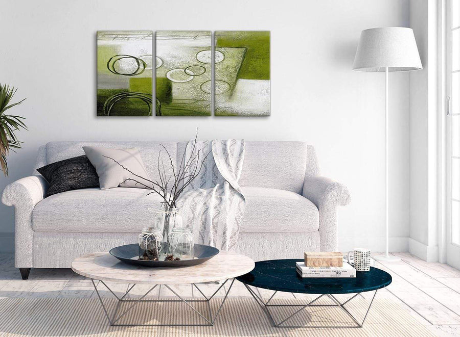 Multiple 3 Piece Lime Green Painting Kitchen Canvas Wall Art Accessories - Abstract 3434 - 126cm Set of Prints