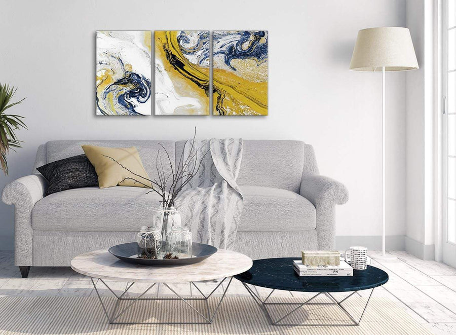 Multiple 3 Piece Mustard Yellow and Blue Swirl Living Room Canvas Wall Art Accessories - Abstract 3469 - 126cm Set of Prints