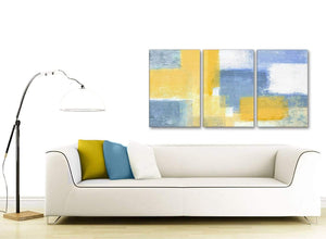 Multiple 3 Panel Mustard Yellow Blue Kitchen Canvas Wall Art Accessories - Abstract 3371 - 126cm Set of Prints