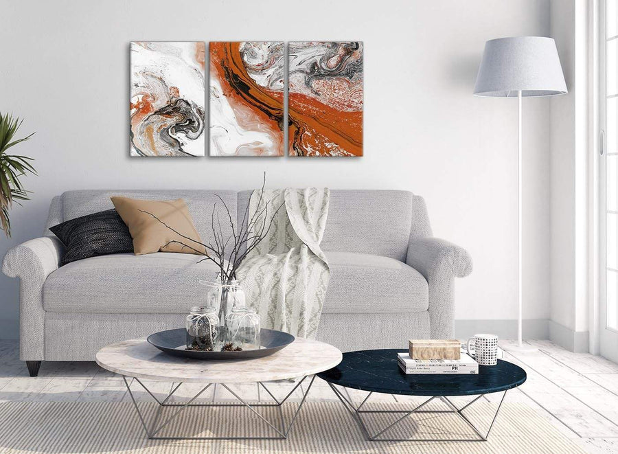 Multiple 3 Panel Orange and Grey Swirl Dining Room Canvas Pictures Decor - Abstract 3461 - 126cm Set of Prints