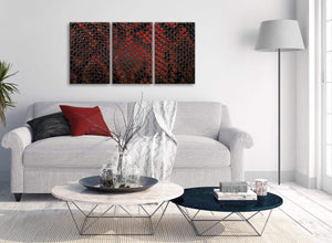 Multiple 3 Panel Red Snakeskin Animal Print Kitchen Canvas Pictures Accessories - Abstract 3476 - 126cm Set of Prints