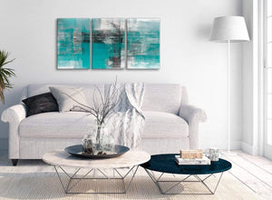 Multiple 3 Piece Teal Black White Painting Kitchen Canvas Wall Art Decor - Abstract 3399 - 126cm Set of Prints
