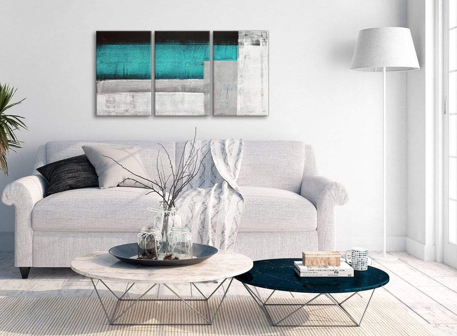 Multiple 3 Piece Teal Turquoise Grey Painting Dining Room Canvas Pictures Accessories - Abstract 3429 - 126cm Set of Prints