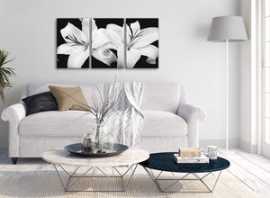 Multiple 3 Panel Black White Lily Flower Kitchen Canvas Pictures Accessories - 3458 - 126cm Set of Prints