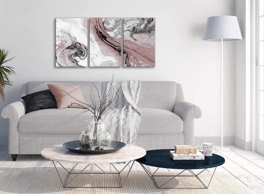 Multiple 3 Panel Blush Pink and Grey Swirl Kitchen Canvas Pictures Accessories - Abstract 3463 - 126cm Set of Prints