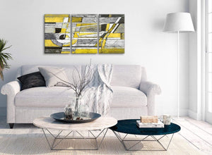 Multiple 3 Piece Yellow Grey Painting Kitchen Canvas Pictures Accessories - Abstract 3400 - 126cm Set of Prints