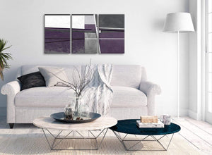 Multiple 3 Piece Aubergine Grey Painting Hallway Canvas Pictures Decor - Abstract 3392 - 126cm Set of Prints