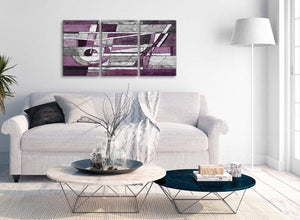 Multiple 3 Panel Aubergine Grey White Painting Kitchen Canvas Wall Art Decor - Abstract 3406 - 126cm Set of Prints