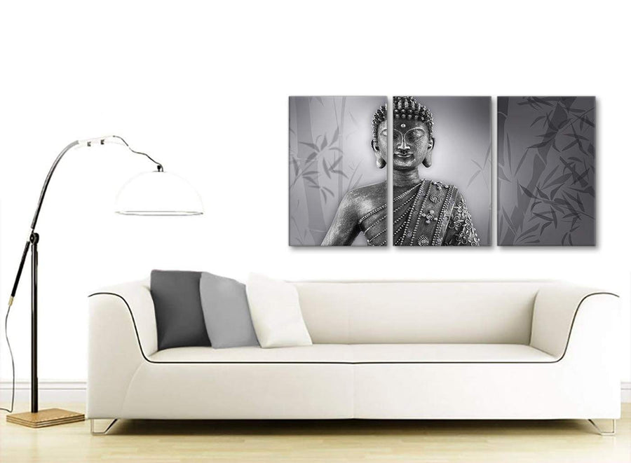 Multiple 3 Panel Black White Buddha Kitchen Canvas Wall Art Accessories - 3373 - 126cm Set of Prints