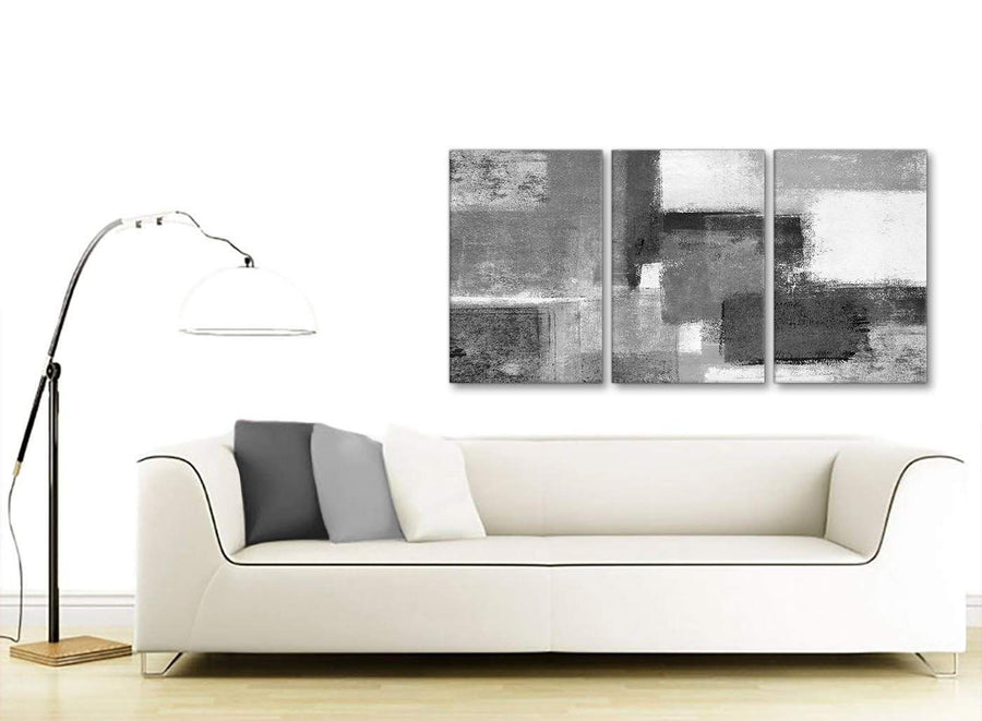 Multiple 3 Panel Black White Grey Office Canvas Pictures Decor - Abstract 3368 - 126cm Set of Prints