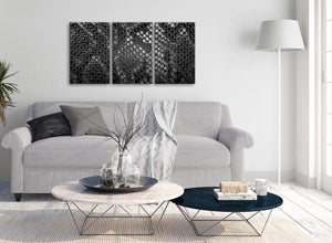 Multiple 3 Piece Black White Snakeskin Animal Print Office Canvas Wall Art Accessories - Abstract 3510 - 126cm Set of Prints