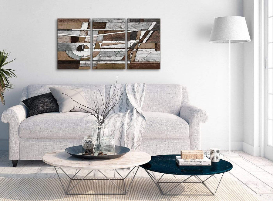 Multiple 3 Panel Brown Beige White Painting Bedroom Canvas Wall Art Decor - Abstract 3407 - 126cm Set of Prints