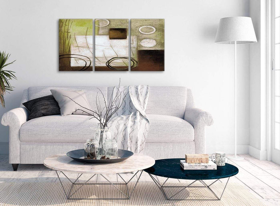 Multiple 3 Piece Brown Green Painting Office Canvas Wall Art Decor - Abstract 3421 - 126cm Set of Prints