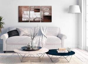 Multiple 3 Piece Brown White Painting Kitchen Canvas Wall Art Accessories - Abstract 3422 - 126cm Set of Prints