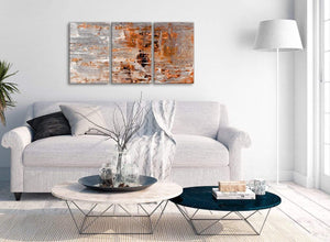 Multiple 3 Panel Burnt Orange Grey Painting Kitchen Canvas Wall Art Accessories - Abstract 3415 - 126cm Set of Prints