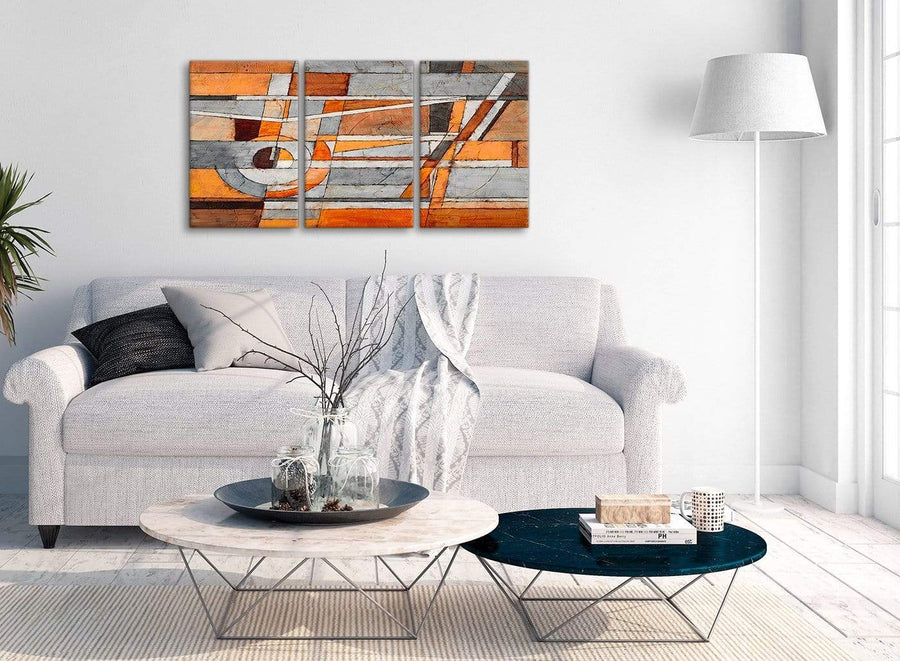 Multiple 3 Piece Burnt Orange Grey Painting Office Canvas Pictures Accessories - Abstract 3405 - 126cm Set of Prints