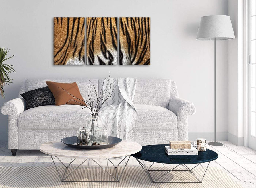 Multiple 3 Panel Canvas Wall Art Tiger Animal Print - 3472 - 126cm Set of Prints