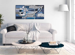 Multiple 3 Piece Indigo Blue White Painting Living Room Canvas Pictures Decor - Abstract 3404 - 126cm Set of Prints