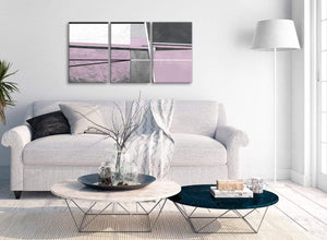 Multiple 3 Piece Lilac Grey Painting Living Room Canvas Wall Art Accessories - Abstract 3395 - 126cm Set of Prints