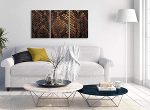 Multiple 3 Panel Mustard Gold Snakeskin Animal Print Living Room Canvas Wall Art Accessories - Abstract 3474 - 126cm Set of Prints