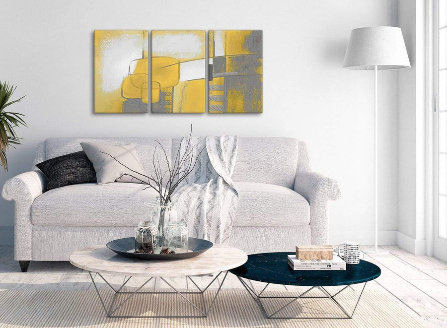 Multiple 3 Piece Mustard Yellow Grey Painting Kitchen Canvas Pictures Decor - Abstract 3419 - 126cm Set of Prints