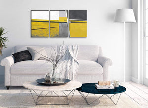 Multiple 3 Panel Mustard Yellow Grey Painting Living Room Canvas Wall Art Decor - Abstract 3388 - 126cm Set of Prints