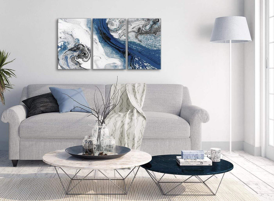 Multiple 3 Piece Blue and Grey Swirl Dining Room Canvas Pictures Decor - Abstract 3465 - 126cm Set of Prints