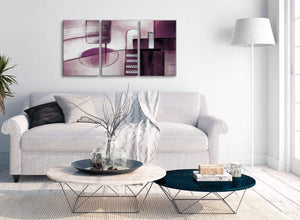 Multiple 3 Piece Plum Grey Painting Kitchen Canvas Wall Art Accessories - Abstract 3420 - 126cm Set of Prints