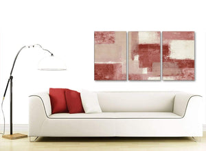 Multiple 3 Piece Red and Cream Kitchen Canvas Pictures Decor - Abstract 3370 - 126cm Set of Prints