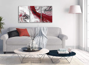 Multiple 3 Panel Red and Grey Swirl Hallway Canvas Wall Art Accessories - Abstract 3467 - 126cm Set of Prints