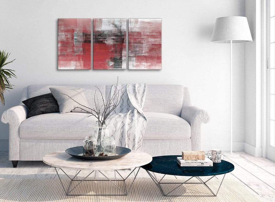 Multiple 3 Panel Red Black White Painting Living Room Canvas Pictures Accessories - Abstract 3397 - 126cm Set of Prints