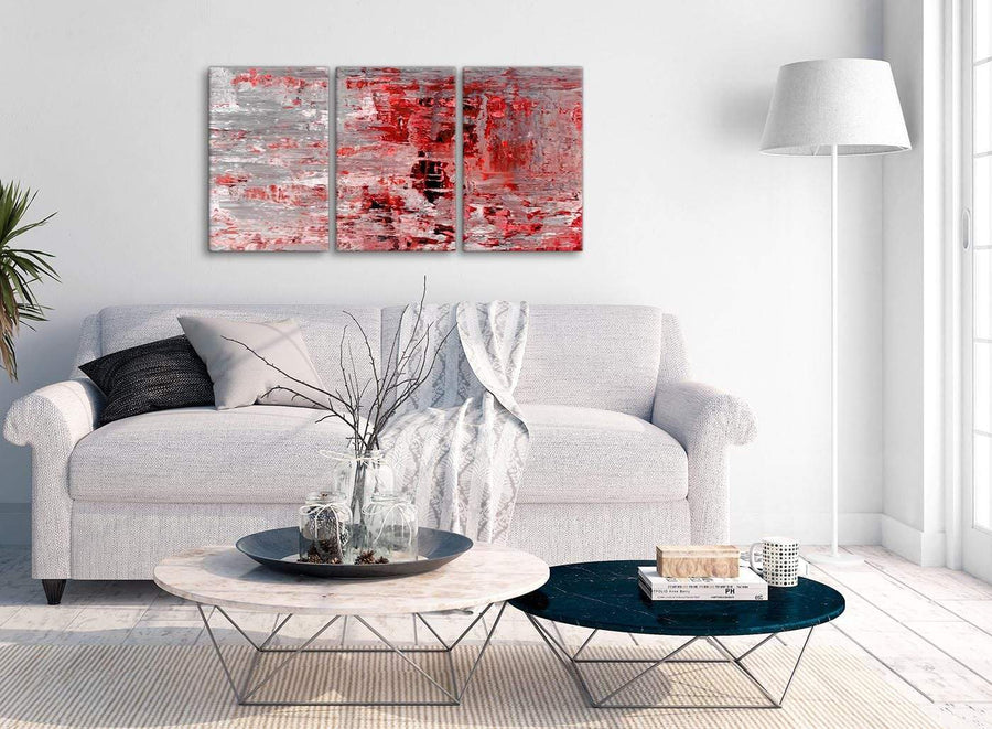 Multiple 3 Panel Red Grey Painting Kitchen Canvas Wall Art Accessories - Abstract 3414 - 126cm Set of Prints