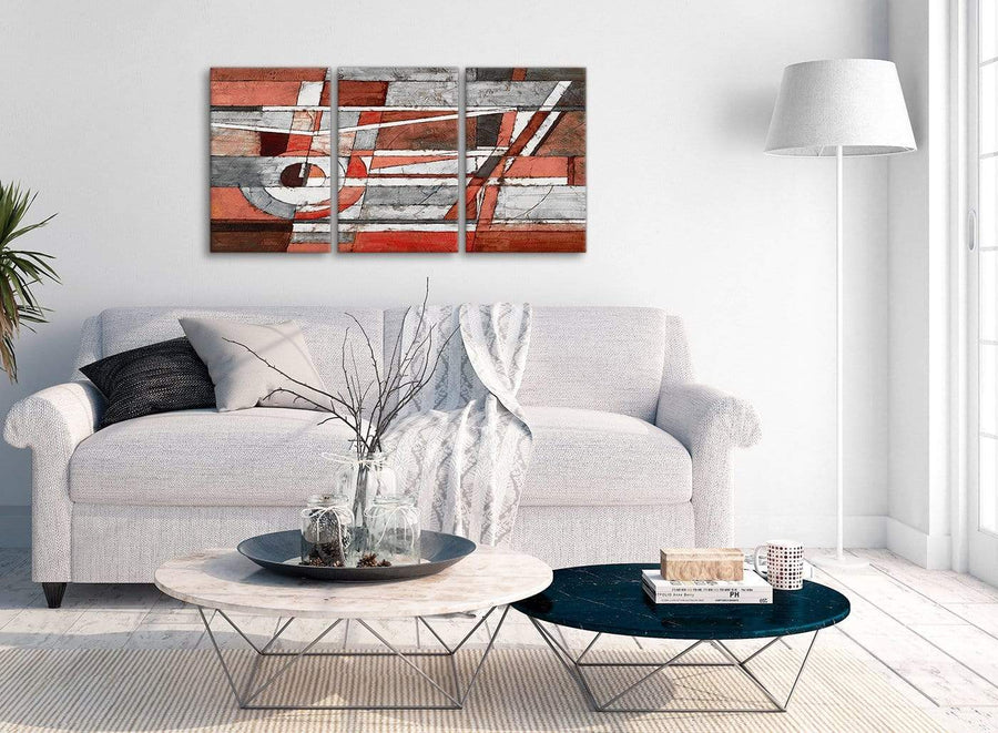 Multiple 3 Piece Red Grey Painting Kitchen Canvas Pictures Accessories - Abstract 3401 - 126cm Set of Prints