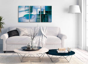 Multiple 3 Panel Teal Cream Painting Kitchen Canvas Wall Art Accessories - Abstract 3417 - 126cm Set of Prints
