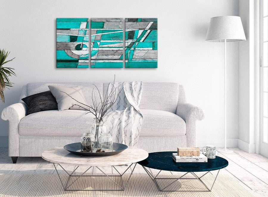 Multiple 3 Piece Turquoise Grey Painting Kitchen Canvas Pictures Accessories - Abstract 3403 - 126cm Set of Prints