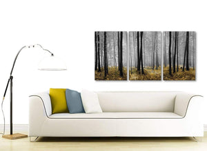Multiple 3 Panel Yellow and Grey Forest Woodland Trees Dining Room Canvas Wall Art Accessories - 3384 - 126cm Set of Prints