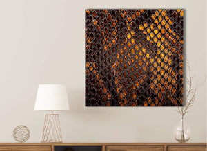 Mustard Gold Snakeskin Animal Print Bathroom Canvas Wall Art Accessories - Abstract 1s474s - 49cm Square Print