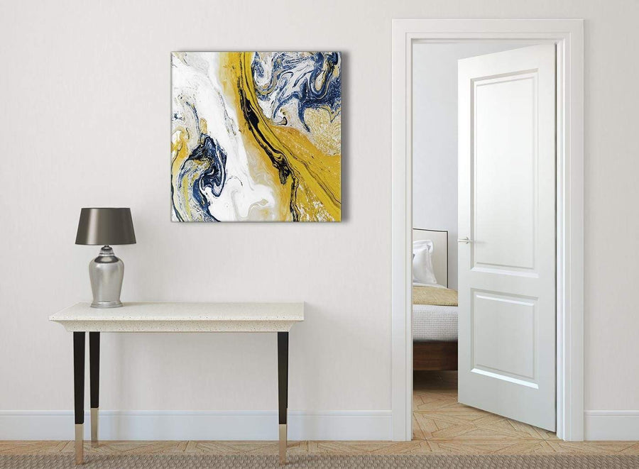 Mustard Yellow and Blue Swirl Abstract Hallway Canvas Wall Art Decor 1s469l - 79cm Square Print
